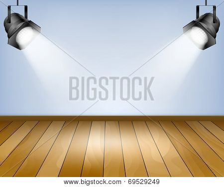 Blue Background With Spotlights. Studio With Wooden Floor