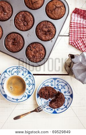 Delicious Chocolate Chip Muffins And Coffee