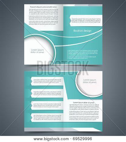 Green bifold brochure template design, business leaflet, booklet