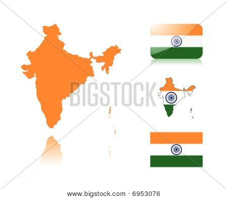 Indian map and flags