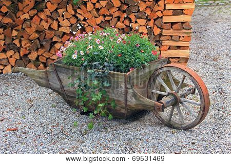 Wooden Pushcart, Planted With Summer Flowers