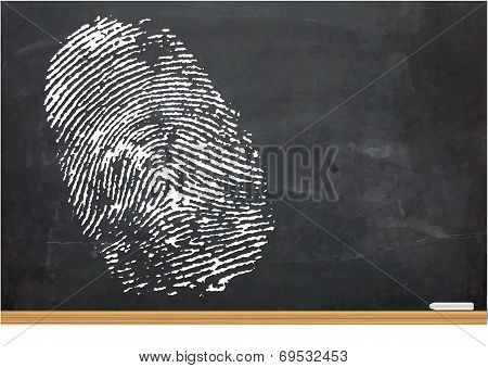 Illustration Of A Thumb Print On A Chalk Board