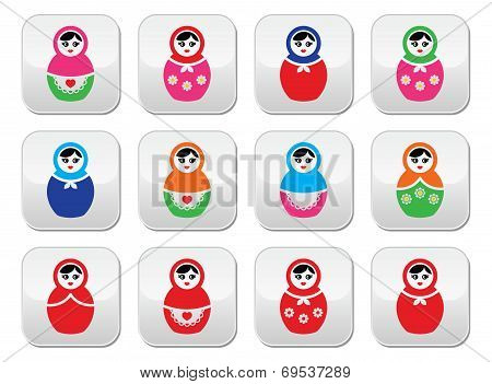 Russian doll, retro babushka vector colorful buttons set