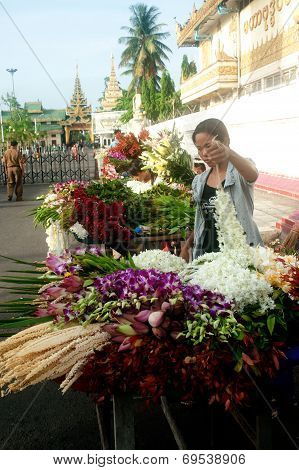Myanmar Flower Seller.