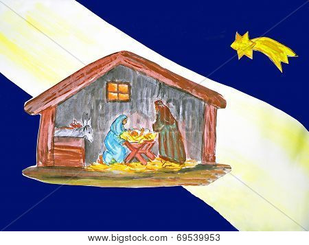 Holy Family Painting, Christmas Card Design