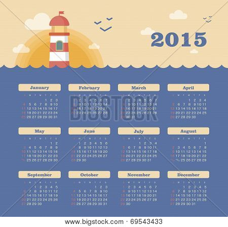 Marine calendar 2015 year with lighthouse