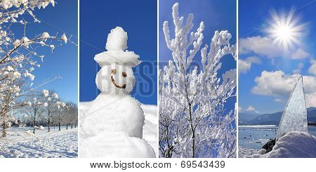 Collage - Wintertime: Wintry Landscape, Snowman, Snow Covered Branches, Sunburst On Frosty Lake