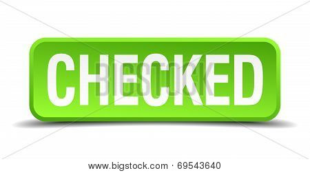 Checked Green 3D Realistic Square Isolated Button