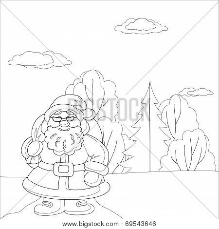 Santa Claus in forest, contours