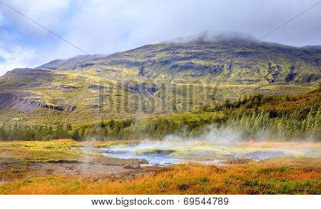Geothermal area near Geysir in southwestern Iceland