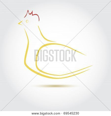 Stylized Vector Image Of An Hen