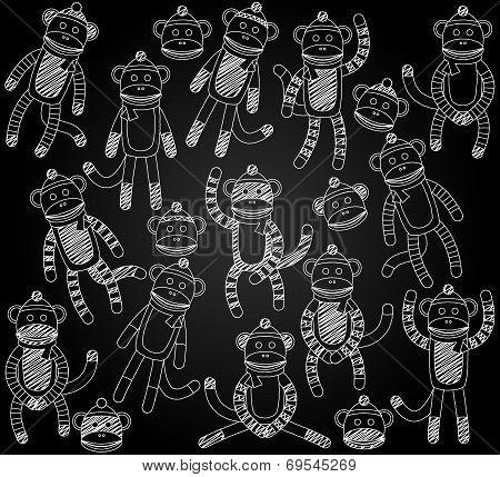 Vector Collection of Cute Doodle Chalkboard Sock Monkeys