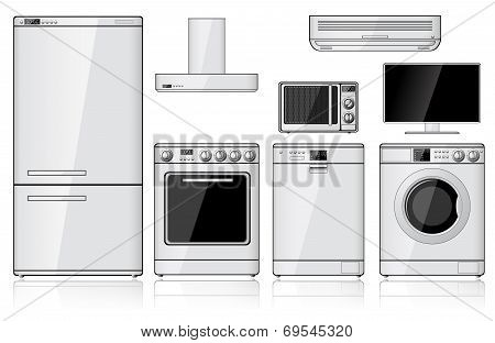 Set Of Realistic Household Appliances
