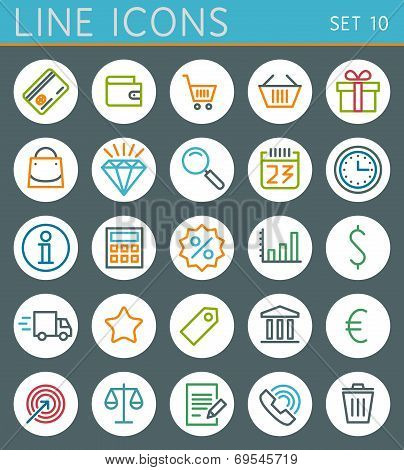 Shopping line icons set. Sale vector web design elements