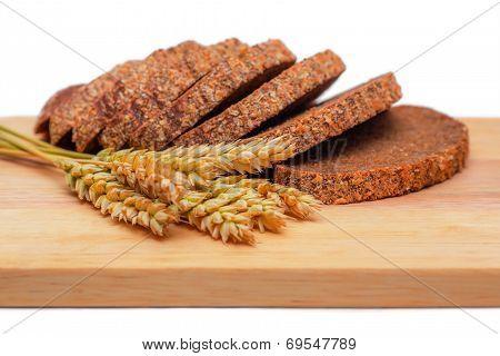 Rye Malt Bread And Wheat Ears