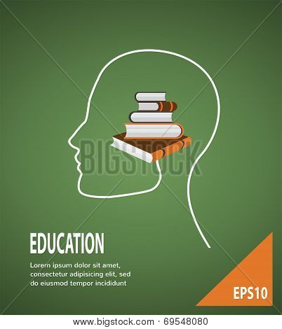 The concept of modern education. Infographic Template with profile head, lightbulb and books
