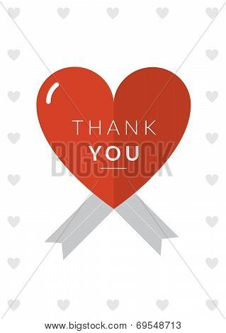 Thank you Card Heart Theme