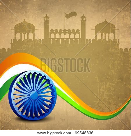 Stylish 3D Asoka Wheel on national flag colors wave on red fort silhouetted grungy brown background for 15th of August, Indian Independence Day celebrations.