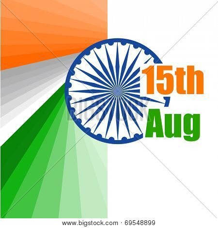 Stylish poster, banner or flyer design with Asoka Wheel on national tricolors background for 15th of August, Indian Independence Day celebrations.