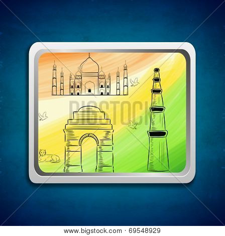 Stylish painting with Indian famous monuments Taj Mahal, India Gate and Qutub Minar on national flag colors background.