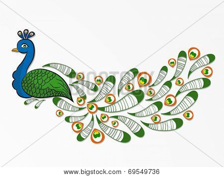 Indian national bird peacock in national flag colors on grey background for 15th of August, Independence Day celebrations.