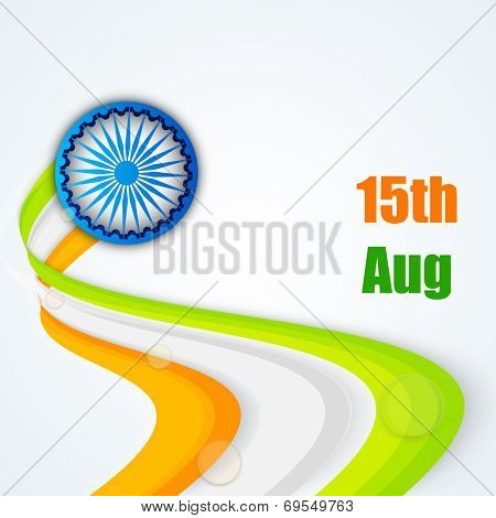 Creative national tricolors wave with Asoka Wheel on blue background for 15th of August, Indian Independence Day celebrations.