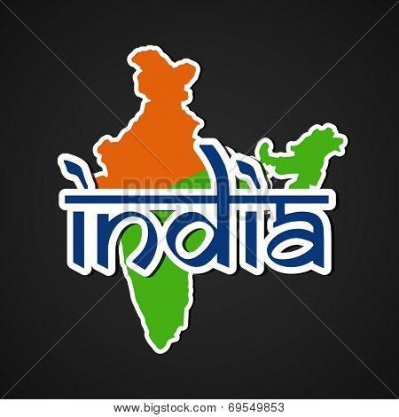Republic of India Map in saffron and green color with stylish blue text India on grey background for 15th of August, Indian Independence Day celebrations.