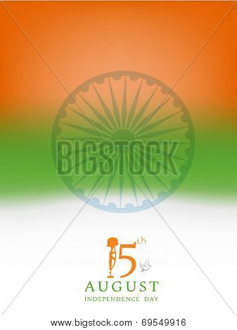 Stylish poster, banner or flyer design in national tricolors and Asoka Wheel for 15th of August, Indian Independence Day celebrations.