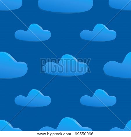 Vector Seamless Pattern Of Clouds On Dark Blue Sky