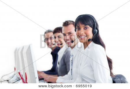 Positive Customer Service Representatives With Headset On