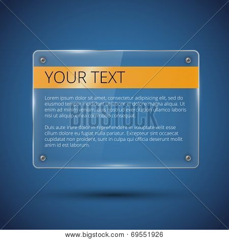 Glossy vector banner on blue