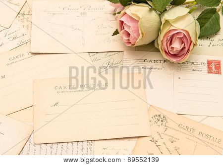 Vintage Postcards And Rose Flowers. Old Love Letters