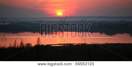 Sunset Over Power Lines