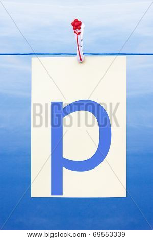 Seamless Washing Line With Paper Showing The Letter P