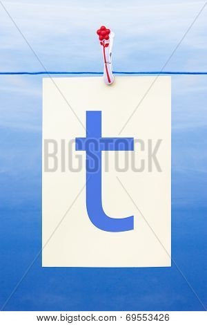 Seamless Washing Line With Paper Showing The Letter T