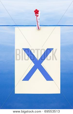 Seamless Washing Line With Paper Showing The Letter X