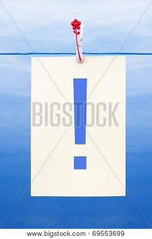 Seamless Washing Line With Paper Showing Exclamation Mark