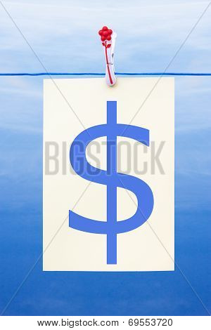 Seamless Washing Line With Paper Showing Dollar Sign
