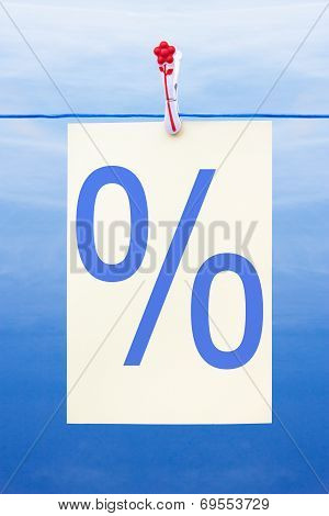 Seamless Washing Line With Paper Showing Percent