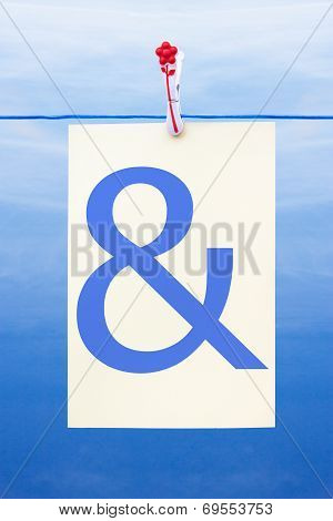 Seamless Washing Line With Paper Showing Ampersand
