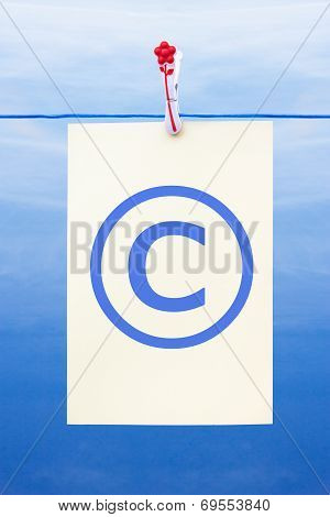 Seamless Washing Line With Paper Showing Copyright