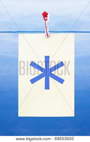 Seamless Washing Line With Paper Showing Asterisk