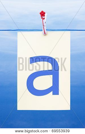 Seamless Washing Line With Paper Showing The Letter A