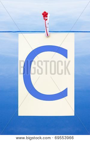 Seamless Washing Line With Paper Showing The Letter C