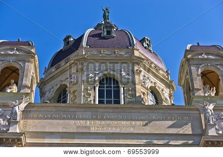 Architectural details of Natural History museum building on  Maria Theresa square in Vienna