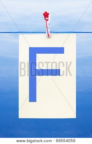 Seamless Washing Line With Paper Showing The Letter F