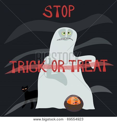 Stop trick or treat - horrified specter