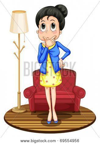 Illustration of a lady thinking