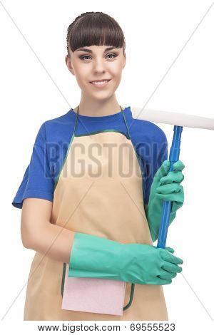 Cleaning Concept: Happy Caucasian Female Holding Rubber Swab And Smiling. Vertical Image