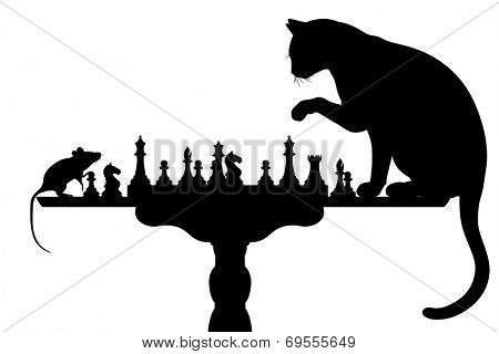 Editable vector silhouettes of a cat and mouse playing chess with all elements as separate objects